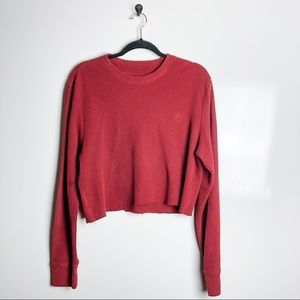 Timberland Thermal Waffle Knit Boxy Crop Shirt Med